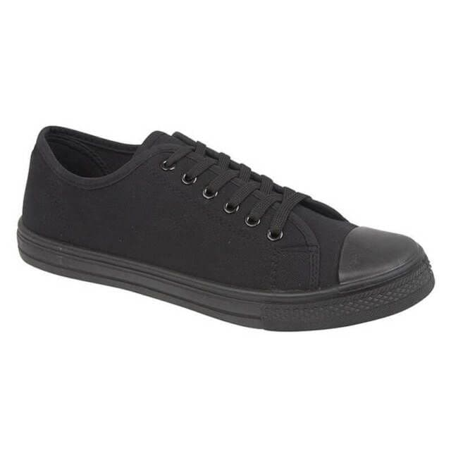 Women's Low Top Canvas Trainers - All Black