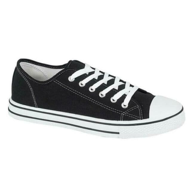 Women's Low Top Canvas Trainers - Black/White