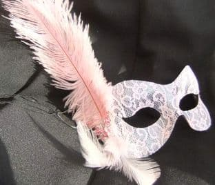 Baby pink lace butterfly feather masquerade mask