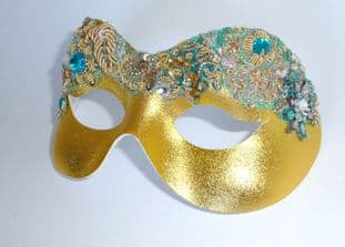 Baroque style Turquoise & gold beaded masquerade mask