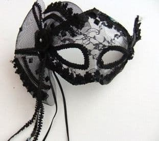 Black lace burlesque fan mask with headband or ribbons