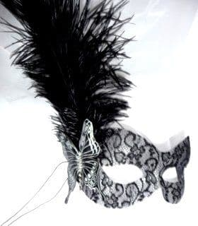 Black Lace mask with unique Black & Silver Leather Butterfly