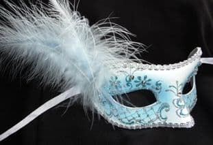 Blue jewelled glitter feather Petite Mask (a)