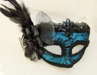Blue Lace mask on a headband or ribbons