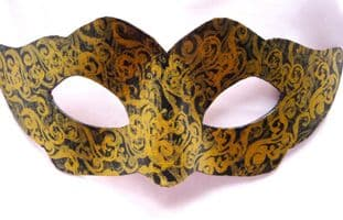 Exclusive Design Ladies Genuine Handmade Petite Gold & Black Embellished Leather Mask