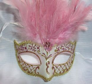 Gold & Pink  feathered petie Mask (1)