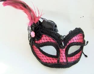 Pink Lace mask on a headband or ribbons