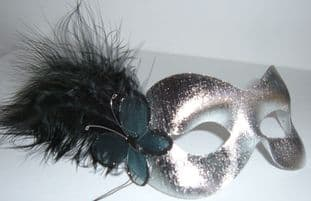 Silver with black butterfly masquerade mask