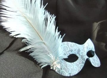 Baby Blue Burlesque style feather mask