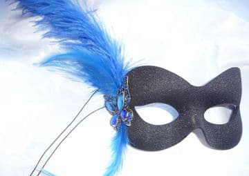 Blue butterfly Burlesque style feather mask (1)