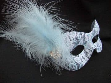 Delicate blue lace Burlesque style feather mask