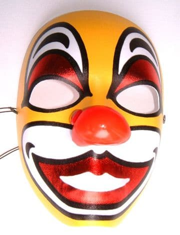 Full Face Clown  Mask with Red Nose