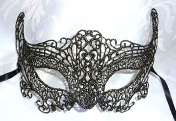 Genuine Venetian Black & Gold Burano Lace half Mask