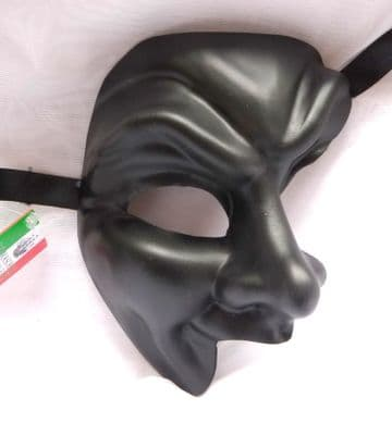Genuine Venetian Black Phantom Joker half Mask