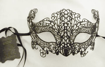 Genuine Venetian Burano Lace Black Half Mask a