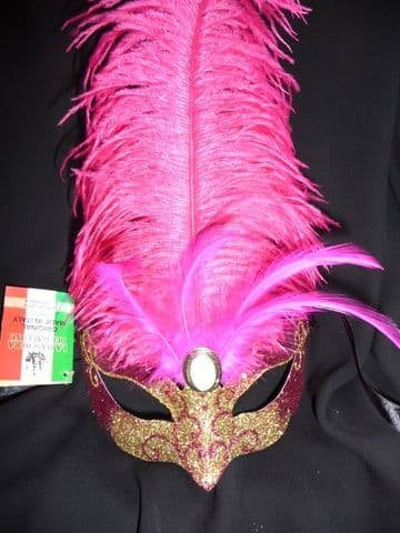Genuine Venetian Cerise & Gold feathered glittered petite  Mask