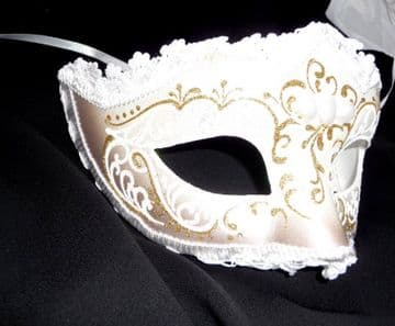 Genuine Venetian Cream & Gold Lace Half Mask
