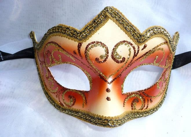Genuine Venetian peach glitter half Mask (1)
