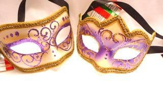 Genuine Venetian Purple His & Hers Glitter Masks (1)