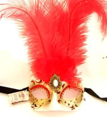 Genuine Venetian Red & Gold feather half Mask