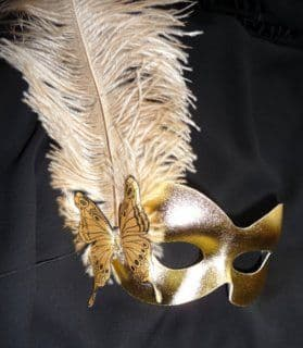 Gold Butterfly Burlesque style feather mask