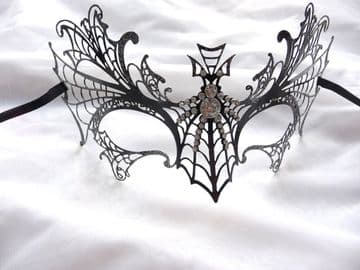 Halloween Black  & Silver Metal filigree Bat Half Mask