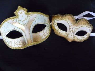 His & Hers Gold & White Petite Masks