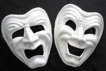 His & Hers Tragedy & Happy full face crackle masks  (headband or ribbons)