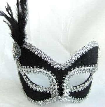 Petite Black & Silver velour mask (glasses arms or ribbon fitting)