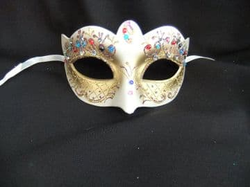 Pretty Gold Bright Jewelled Flower Mask