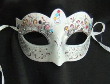 Pretty Silver Bright Jewelled Flower Mask