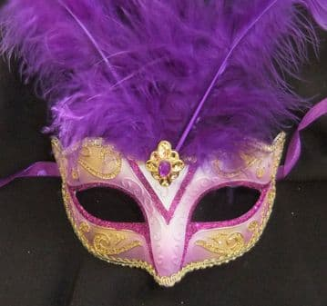 Purple & Gold Feathered Petite Mask (2)