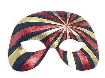 RED & GOLD Striped half Mask