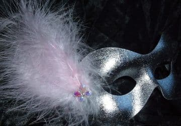 Silver & pink butterfly masquerade eye mask