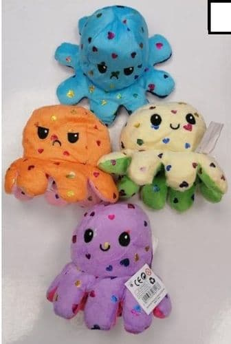Mood Octopus Reversible Soft Plush Toy Gift - Colours May Vary - 14 X 16 X 12cm