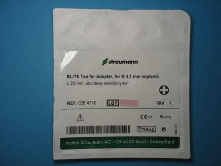 Straumann B/TE Tap for Adapter, for 4.1 mm Implants Ref: 026.4310