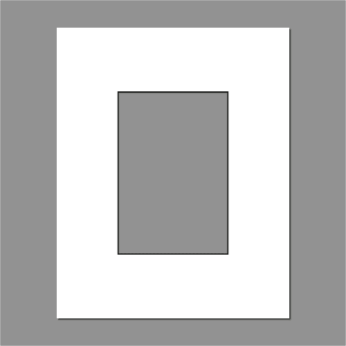 A4 Standard White with Black Core Pre-cut Picture Window Mount 1400mic
