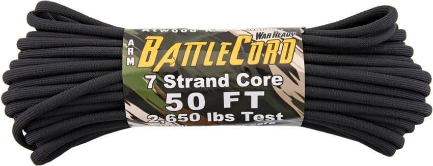 ARM BattleCord - 50ft (15m) black 2650LB breaking strain paracord!