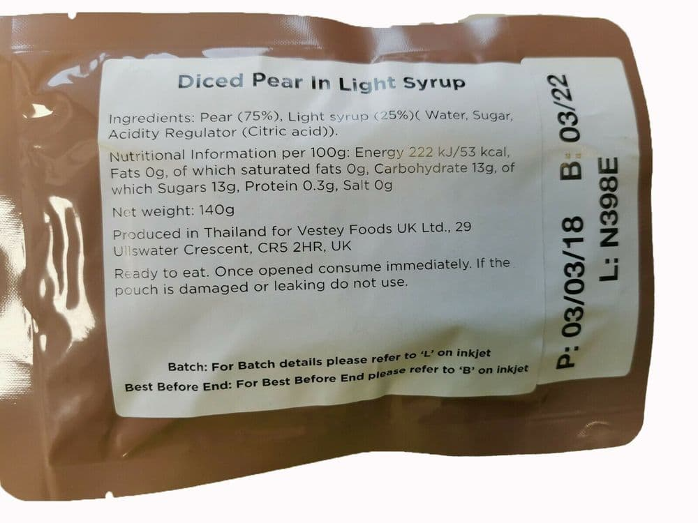 British Army Ration Pack Meal Pouch - Diced Pear In Light Syrup