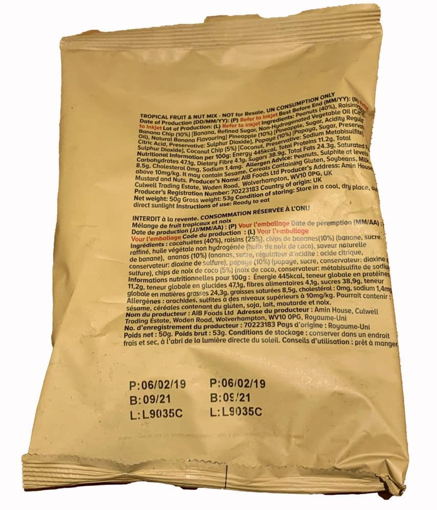 British Army Ration Pack Meal Pouch - Tropical Mix
