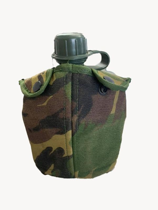 Dutch Military 1L Olive Flask & Camo Bottle Pouch