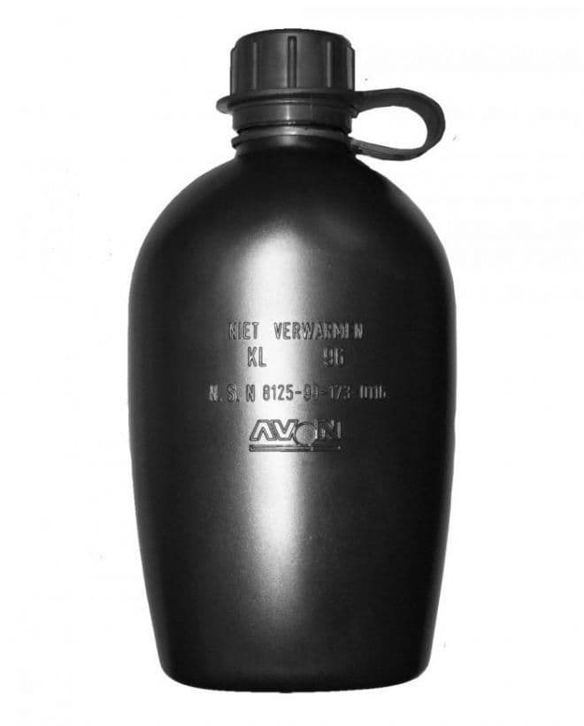 Dutch Military Issue Black Water Bottle 1L