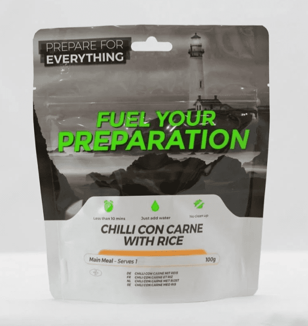 Fuel Your Preparation Freeze Dried Food Ration Meal Pouch - Chilli Con Carne With Rice