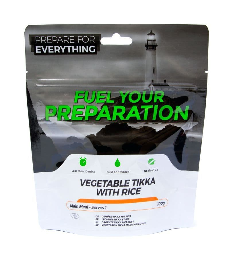 Fuel Your Preparation Freeze Dried Food Ration Meal Pouch - Vegetable Tikka With Rice