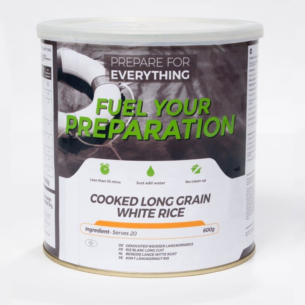 Fuel Your Preparation Freeze Dried Food Ration Meal Tin - Cooked White Rice