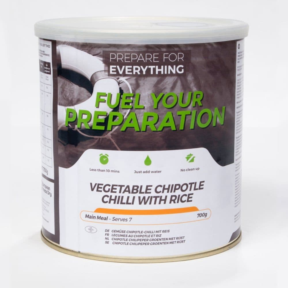 Fuel Your Preparation Freeze Dried Food Ration Meal Tin - Vegetable Chilli With Rice