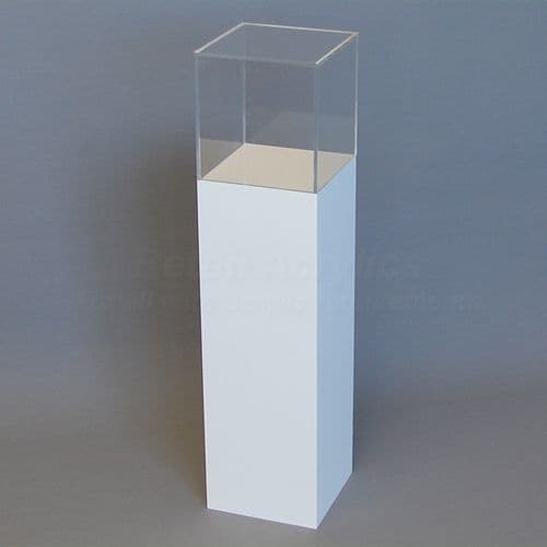 100cm Tall - White Acrylic Display Pedestal / Plinth with Display Case