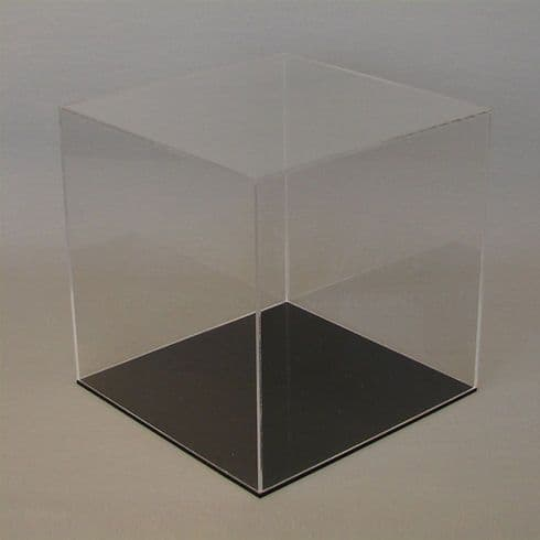 10cm  Clear Acrylic Display Case with Black Base