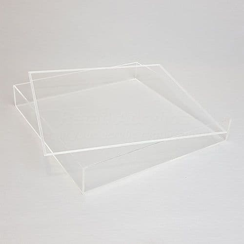 20cm  Square Clear Acrylic Tray with Lid