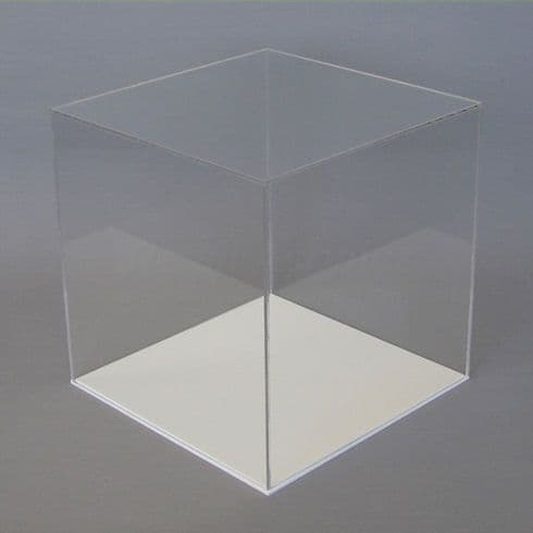 30cm  Clear Acrylic Display Case with White Base